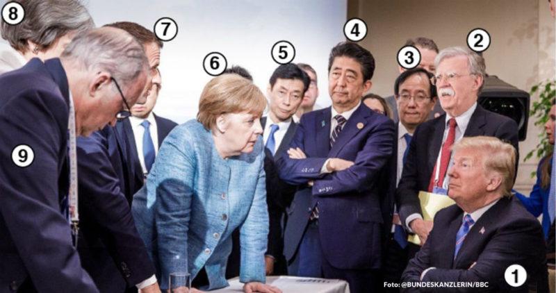 Una FOTO del G7 filtrada por Merkel muestra a los líderes del mundo tratando lo imposible: que Trump entienda