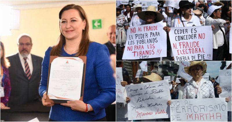 """Martha Érika recibe constancia de mayoría; """"no al fraude"""", cientos se manifiestan en Puebla"""