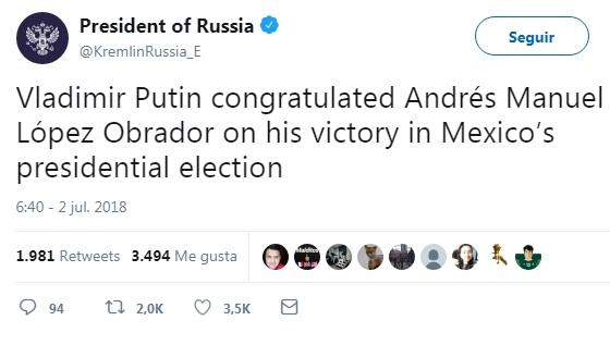 Felicitan a AMLO los presidentes de Rusia, Francia, Cuba, Chile, Brasil, Perú y el gobierno de España
