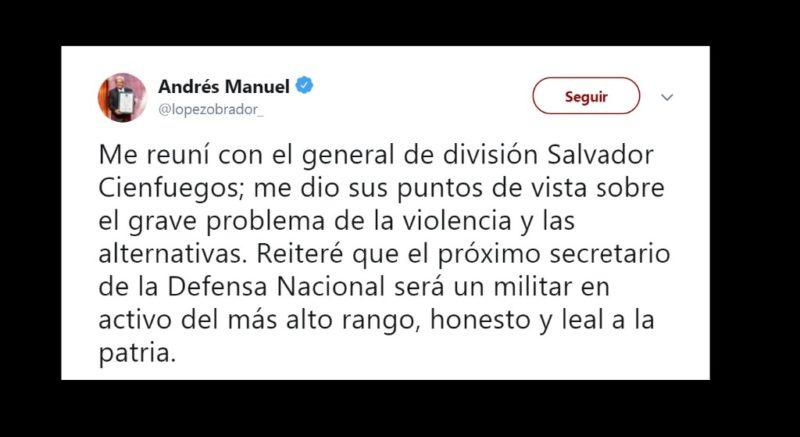 Se reúne AMLO con el secretario de Defensa, Salvador Cienfuegos, para hablar de su sucesor