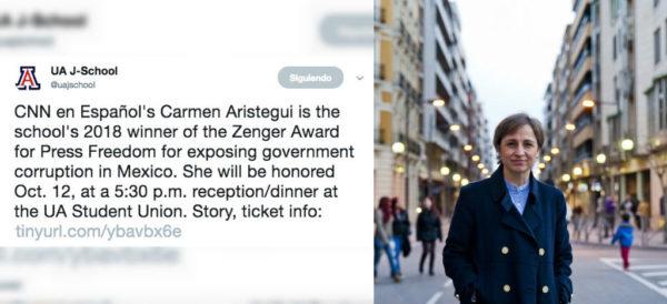 Carmen Aristegui recibirá premio Zenger 2018 por exponer la corrupción gubernamental en México