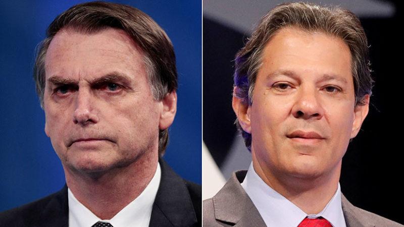 Habrá segunda vuelta en Brasil entre Bolsonaro (46,33%) y Haddad (28,85%)