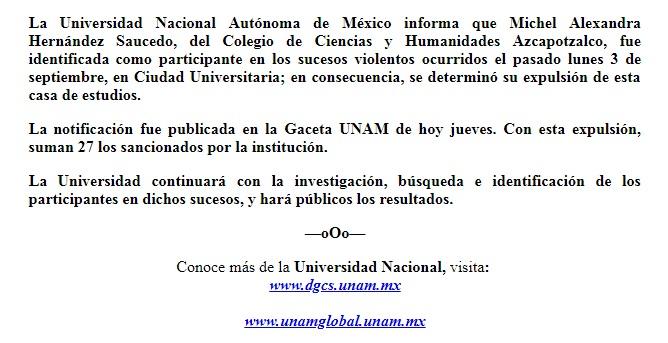 Suman 27 expulsados de la UNAM por ataque en CU