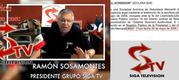 Sosamontes afirma que dejó Siga TV en 2011, pero en 2012 se presentaba como su presidente
