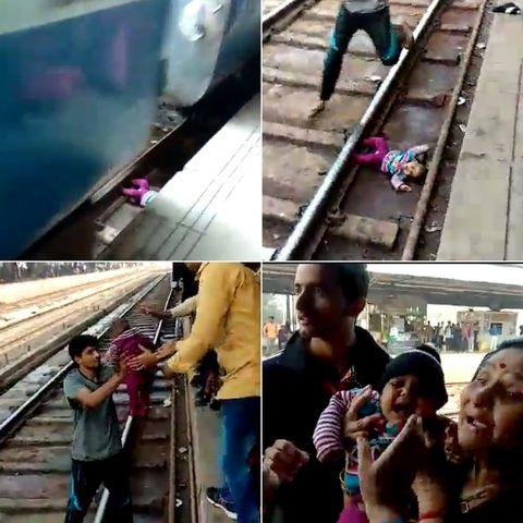 Tren pasa encima de bebé en India; sobrevive sin un rasguño