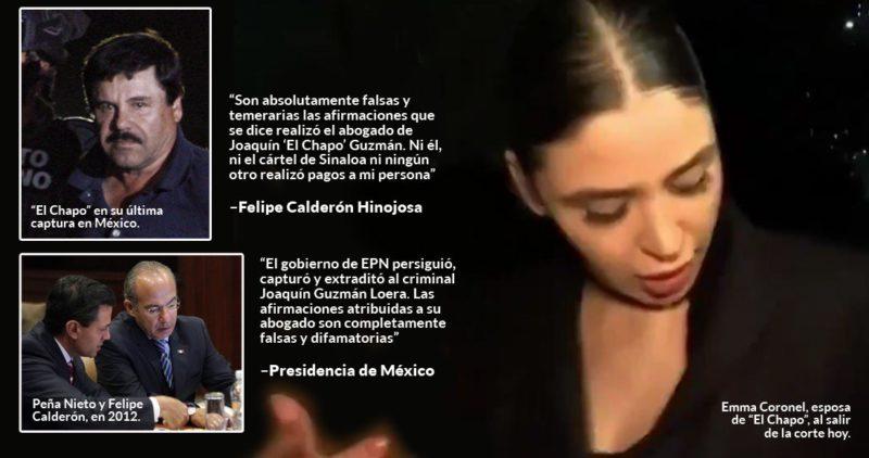 """La defensa de """"El Chapo"""" dice que el Cártel de Sinaloa pagó a Peña Nieto y Calderón millones en sobornos. Ambos lo niegan"""