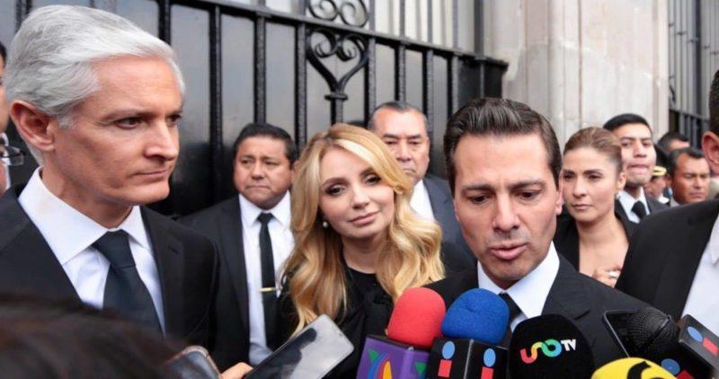 Peña Nieto reaparece acompañado de Angélica Rivera en el funeral de Del Mazo