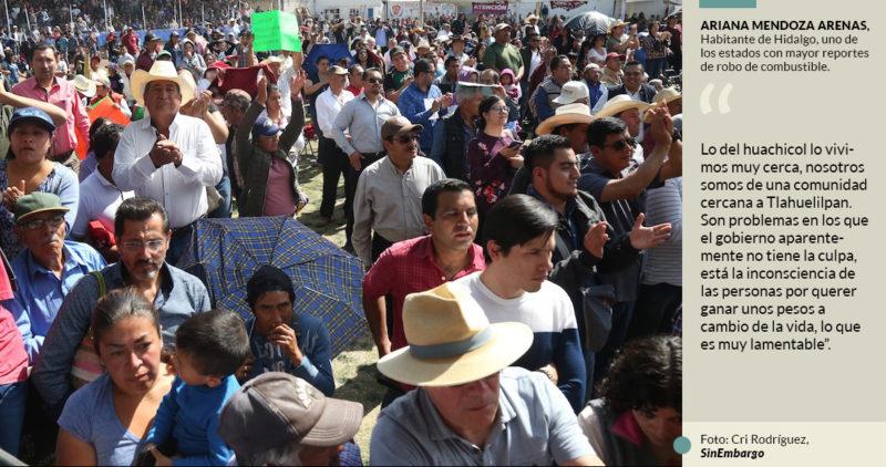 AMLO sigue su gira en tierras del huachicol, pero la gente teme no llegue la ayuda, como era común