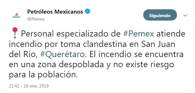 Se registra otro incendio de ducto, ahora en Querétaro