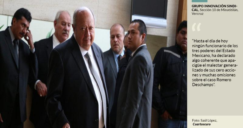 Petroleros denuncian que la falta de acción del gobierno contra Romero Deschamps muestra pacto entre ellos
