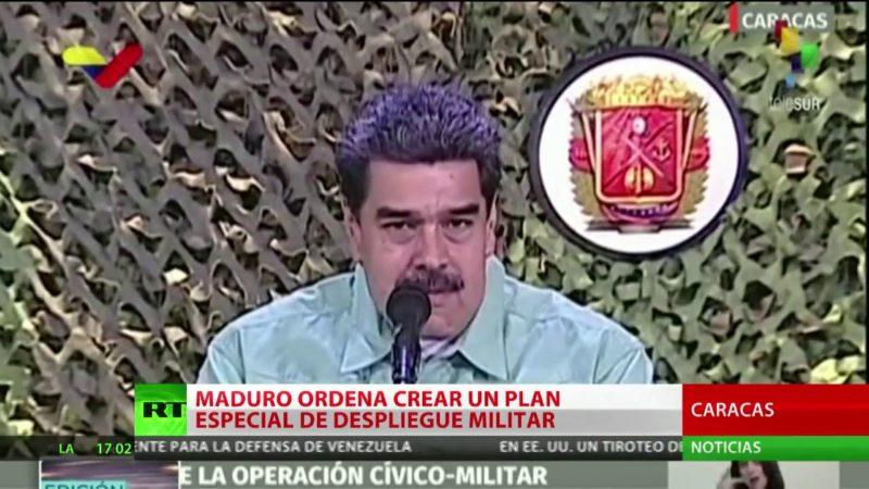 """Videos: Maduro ordena un plan de despliegue de las Fuerzas Armadas ante """"la provocación"""" en la frontera con Colombia"""