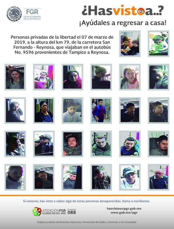 Siguen desaparecidos 26 migrantes en Tamaulipas; gobierno publica sus fotos