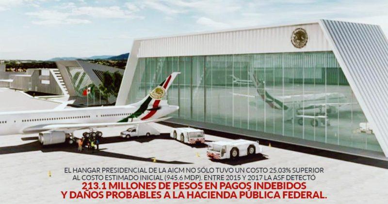El hangar presidencial de Peña costó 1,182 millones (25% más) y en 2.8 años gastó 1.1 millones al día