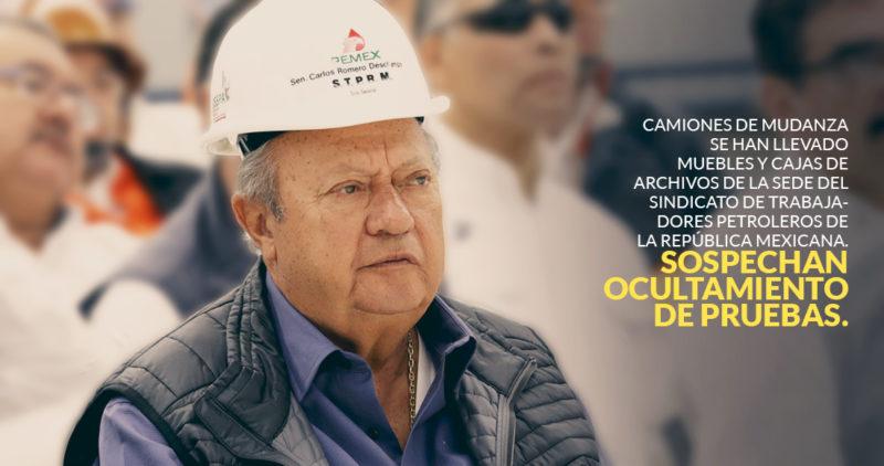 Petroleros alertan que Romero Deschamps se lleva del sindicato, en camiones, muebles y archivos
