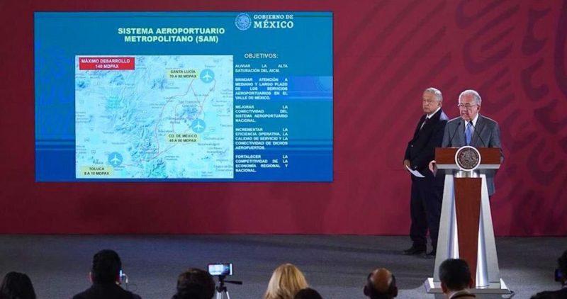 El Gobierno anuncia una tercera terminal en el AICM; gran parque en Texcoco e inicio de Santa Lucía
