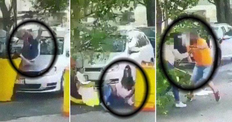 En video: un individuo persigue a su ex pareja a la Casa Jalisco, la atropella, la apuñala, la mata y luego un guardia lo acribilla