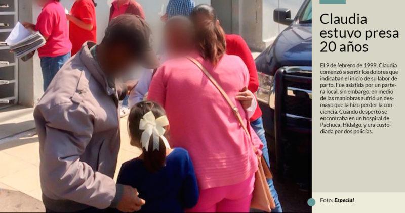 Claudia llegó a la cárcel sin leer ni escribir, y por un falso delito (aborto) pagó 20 años en Hidalgo