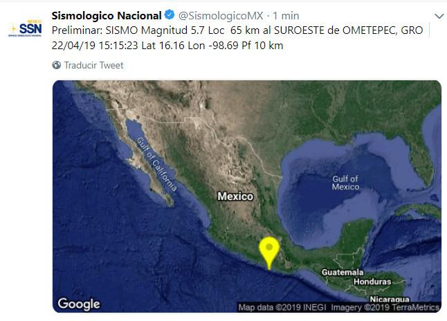 Sismo de 5.7 en la Ciudad de México con epicentro en Ometepec, Guerrero; no hubo daños ni víctimas