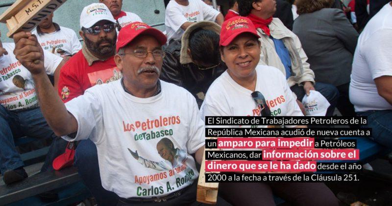 Amparo de Romero Deschamps para impedir que Pemex de información sobre el dinero que ha dado al sindicato petrolero desde hace 19 años ; desechadas, 277 solicitudes de información