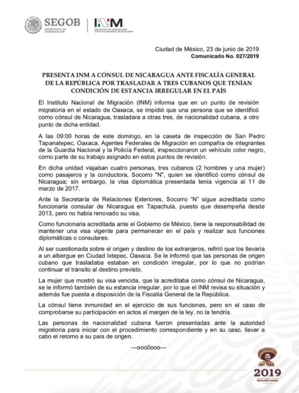 Detienen en Oaxaca a cónsul de Nicaragua que transportaba a migrantes