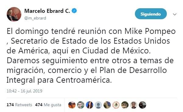 Ebrard y Pompeo se reúnen el próximo domingo en la Ciudad de México