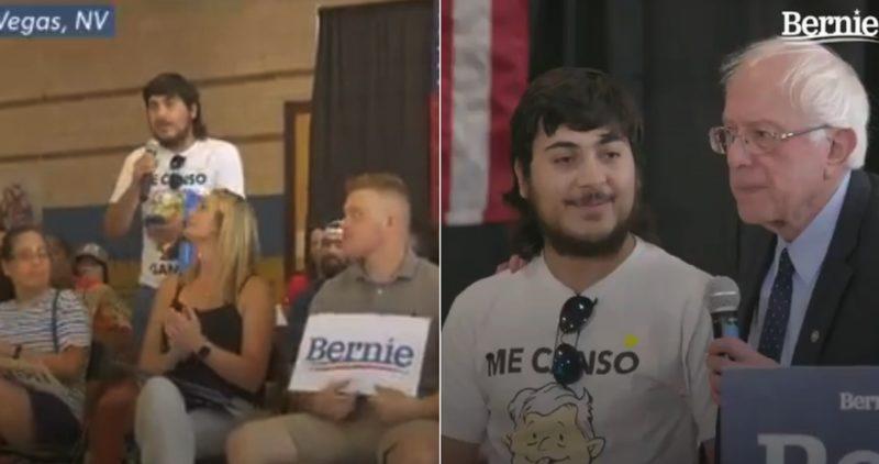 """Bernie Sanders comparte VIDEO de un migrante, maestro en EU… y con camisa del """"me canso ganso"""""""
