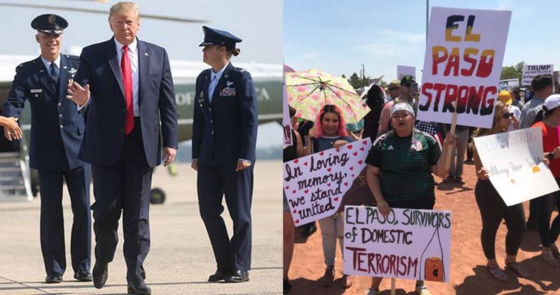 Video: Entre manifestaciones de rechazo y condena llega Trump a El Paso; lo culpan de la masacre del sábado y exigen control de armas