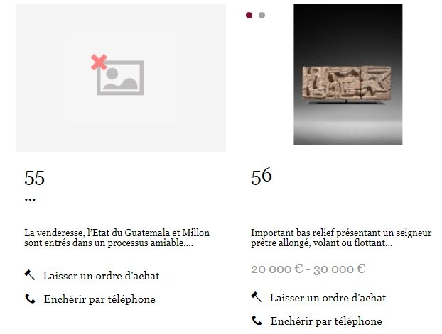 Suspenden en Francia venta de pieza maya reclamada por Guatemala