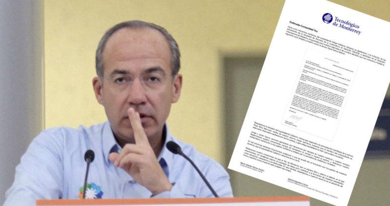 Más de 24 mil rechazaron visita de Calderón al Tec y él, finalmente, lo acepta: ya anunció que no irá
