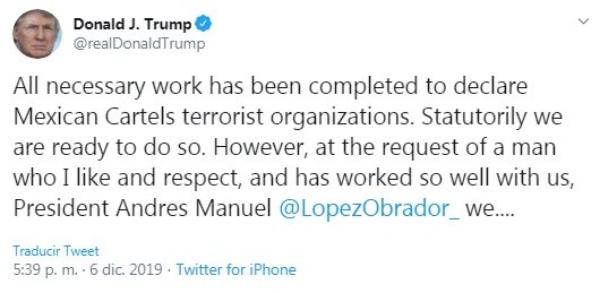 """Video: Difiere Trump la declaratoria de los carteles mexicanos como terroristas, a pedido del presidente López Obrador, """"quien me gusta y respeto"""""""