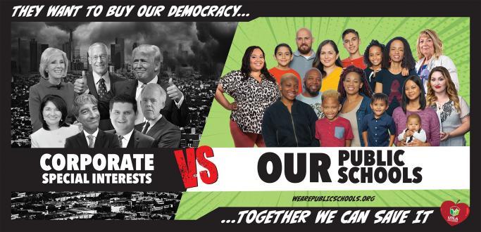 UTLA relanza su campaña contra enemigos de la educación pública, encabezados por Trump, al través de 75 billboards, ubicados en diversos puntos de LA