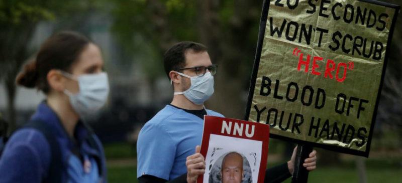 Video: Enfermeras y enfermeros protestan afuera de la Casa Blanca; exigen equipos de protección