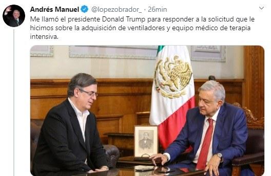 En llamada con AMLO, acepta Trump vender a México mil ventiladores para Covid-19; posible que se reúnan en junio o julio