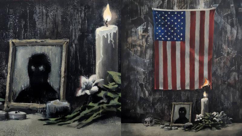 Banksy dedica su nueva obra al problema del racismo con una vela que prende fuego a la bandera de EE.UU.