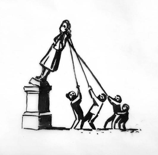 Presenta Banksy imagen de estatua derribada del traficante de esclavos Edward Colston en Bristol