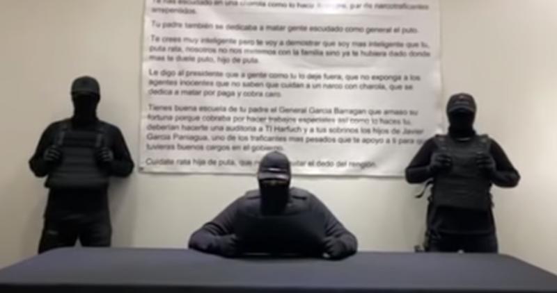 Video: Encapuchados amenazan a García Harfuch en un video. Nadie se lo atribuye y equivocan parentescos
