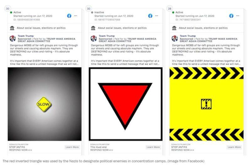Facebook retira anuncios de la campaña de Trump por usar símbolo relacionado a los nazis