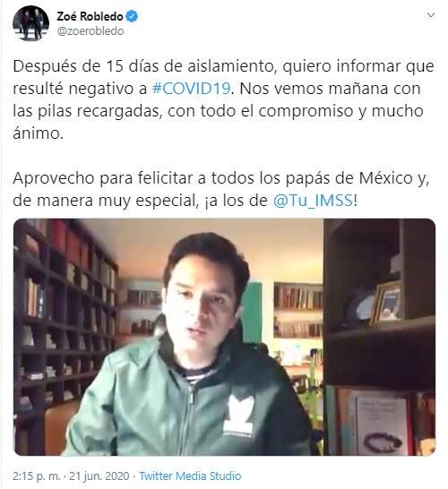 Video: Zoe Robledo, titular del IMSS, supera al Covid-19 ; reanuda mañana sus funciones presencial