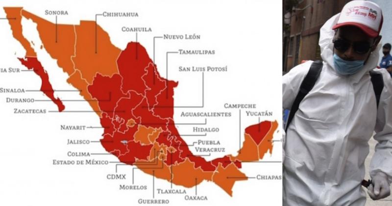 México se divide por COVID-19: 16 estados inician el 3 de agosto en Rojo y otros 16 en Naranja