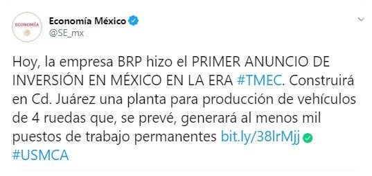 Llega primera inversión a México en el marco del T-MEC