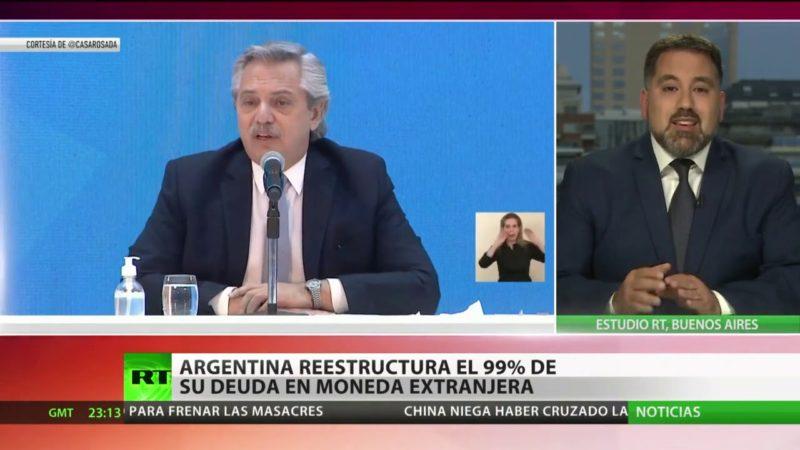 """Argentina reestructura más de 66 mil millones de dólares, """"el 99 % de la deuda"""" con los bonistas"""