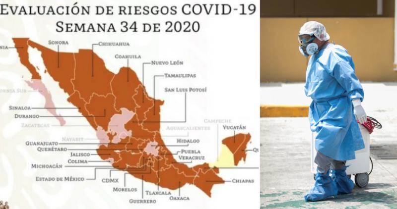 MAPA: Campeche avanza hacia el Semáforo Amarillo. Seis estados se quedan en rojo; 25 en naranja