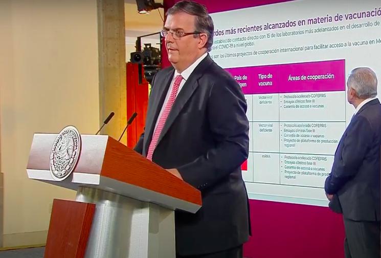 Mexico ya tiene acuerdo con cuatro empresas productoras de vacunas contra COVID-19 para acceder al producto final: Ebrard. Hay 100 mmp  para comprarlas: AMLO