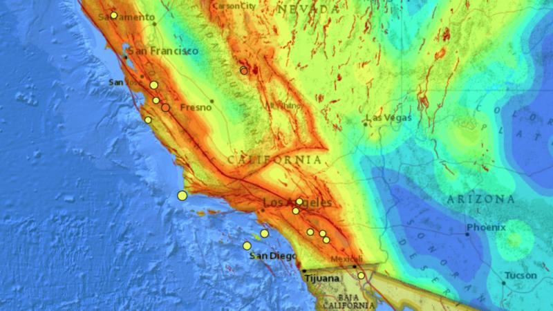 Sistema de 300 fallas geológicas en el sur de California, siendo las de mayor riesgo: San Andrés, San Jacinto, Imperial y Elsinore