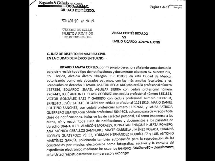 Anaya denuncia a Lozoya por daño moral tras señalamientos. Gobernador tamaulipeco afirma que responderá con determinación