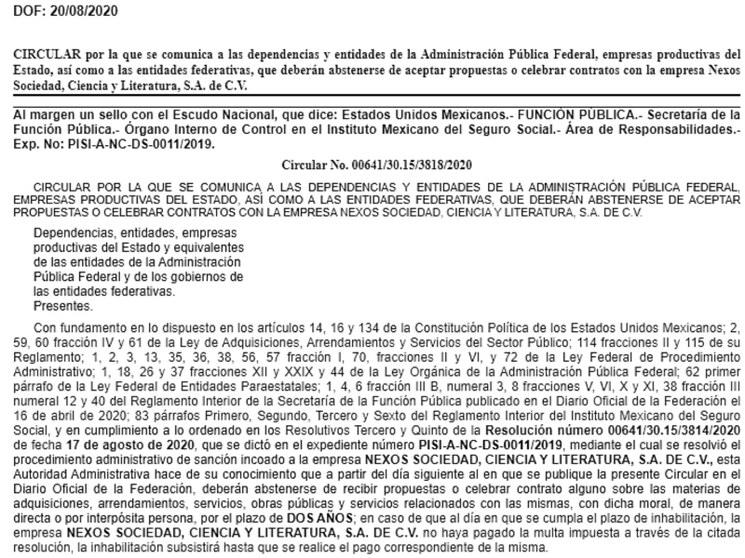 La Secretaría de la Función Pública inhabilita por dos años a la editorial Nexos por falsear información para publicidad