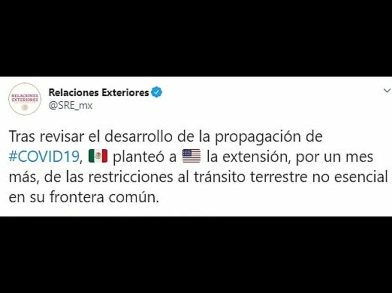 Video: Por sexta vez, México y EU extienden restricción de tránsito fronterizo