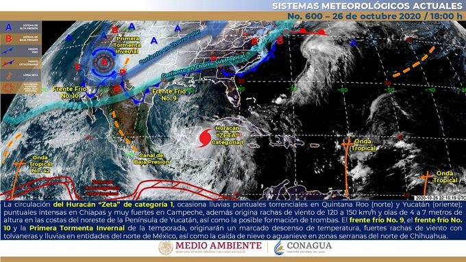 Huracán Zeta tocó tierra en Quintana Roo. Alerta roja en 6 municipios