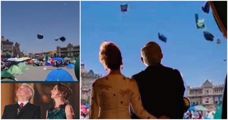 Usuarios de redes se burlan con MEMES y VIDEOS de casas de campaña de FRENA que vuelan en el Zócalo