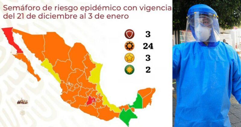 México tiene ahora 3 estados en Rojo, y 6 están a nada. La mayoría va a Naranja y 2 quedan en Verde